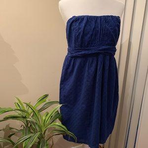 Torrid Royal Blue Strapless Eyelet Dress